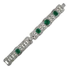 Art Deco Emerald and Diamond Bracelet, GIA, No Clarity Enhancement