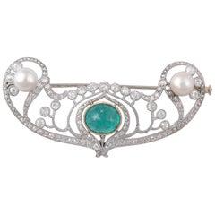 Art Deco Emerald and Diamond Brooch, circa 1920