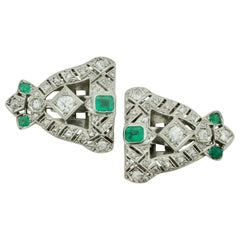 Art Deco Emerald and Diamond Brooch Clips circa 1920s in Platinum