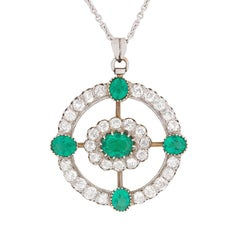 Art Deco Emerald and Diamond Cluster Pendant, circa 1920s