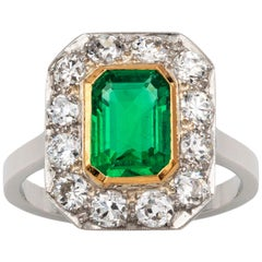 Art Deco GCS Certified 1.22 Carat Columbian Emerald and Diamond Cluster Ring