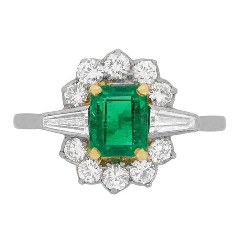 Art Deco Emerald and Diamond Cluster Ring, circa 1920s