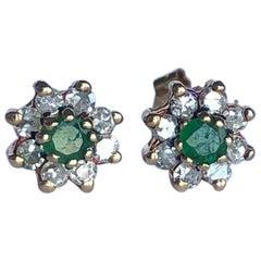 Art Deco Emerald and Diamond Cluster Stud Earrings