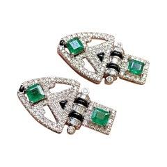Art Deco Style Emerald and Diamond Dangle Earring
