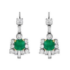 Art Deco Emerald and Diamond Drop Earrings, circa 1920s