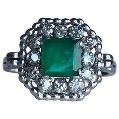 Art Deco Emerald and Diamond Platinum Cluster Ring