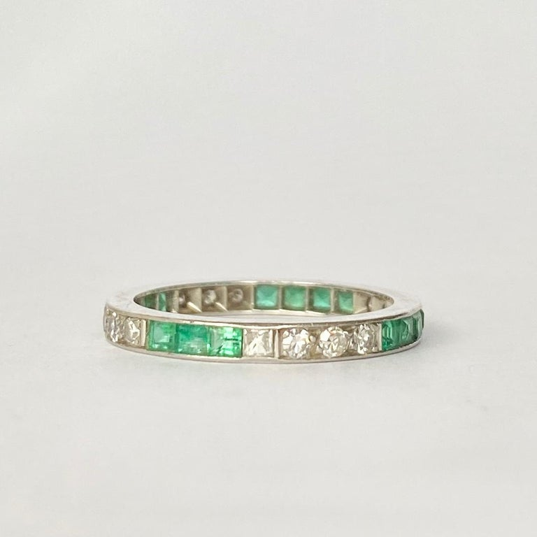 Square Cut Art Deco Emerald and Diamond Platinum Full Eternity Band