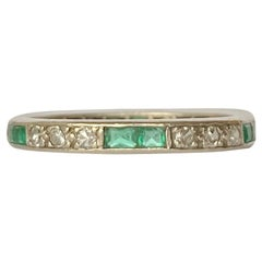 Art Deco Emerald and Diamond Platinum Full Eternity Band