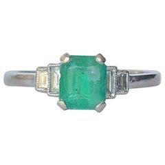 Art Deco Emerald and Diamond Platinum Solitaire Ring