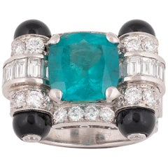 Art Deco Style Emerald and Diamond Ring