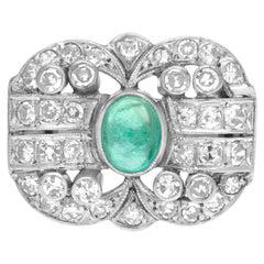Art Deco Emerald and Diamond Ring Set in Platinum