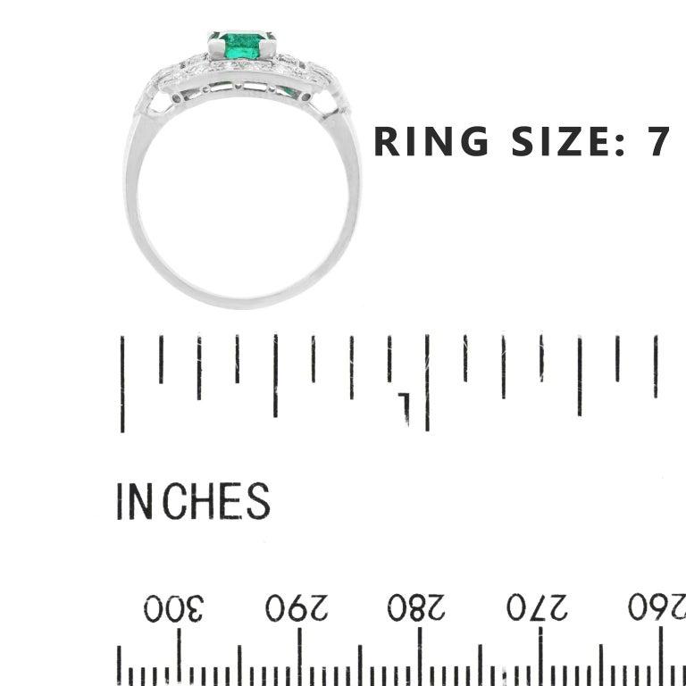 Art Deco Emerald and Diamond Set Platinum Ring For Sale 2