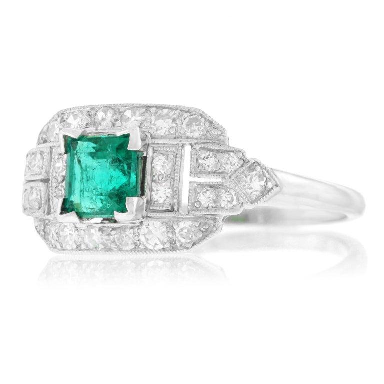 Art Deco Emerald and Diamond Set Platinum Ring For Sale 3