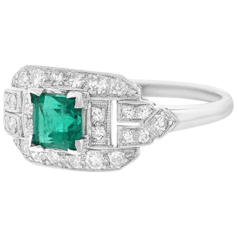 Art Deco Emerald and Diamond Set Platinum Ring For Sale