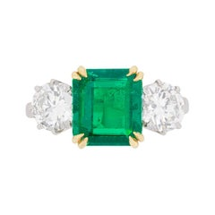 Art Deco Emerald and Diamond Three-Stone Ring, circa 1930s