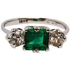 Art Deco Emerald and Diamond Three-Stone Ring