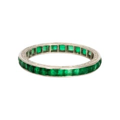 Art Deco Emerald and Engraved Platinum Full Eternity Band