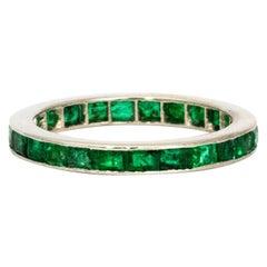 Art Deco Emerald and Platinum Full Eternity Band
