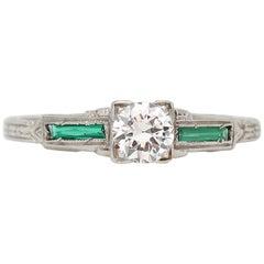 Art Deco Emerald Baguette and Old European Diamond 18 Karat Gold Carved Ring