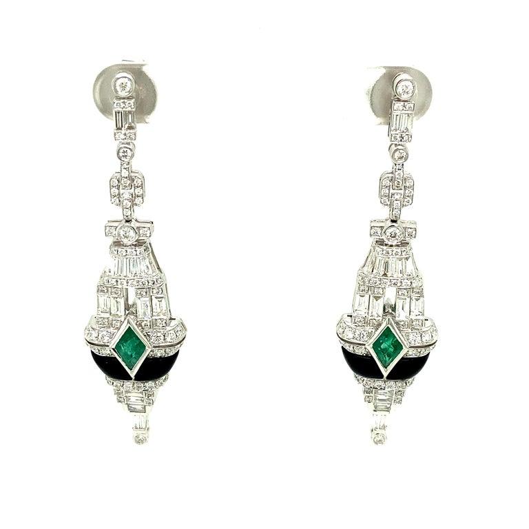 Kite Cut Art Deco Style Emerald, Black Onyx, and White Diamond Gold Dangle Earrings