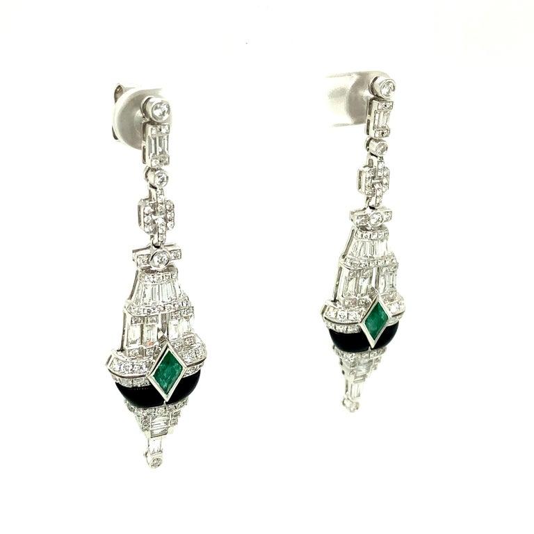 Women's or Men's Art Deco Style Emerald, Black Onyx, and White Diamond Gold Dangle Earrings