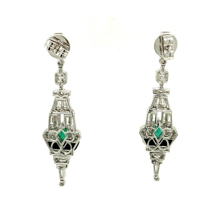 Art Deco Style Emerald, Black Onyx, and White Diamond Gold Dangle Earrings 1
