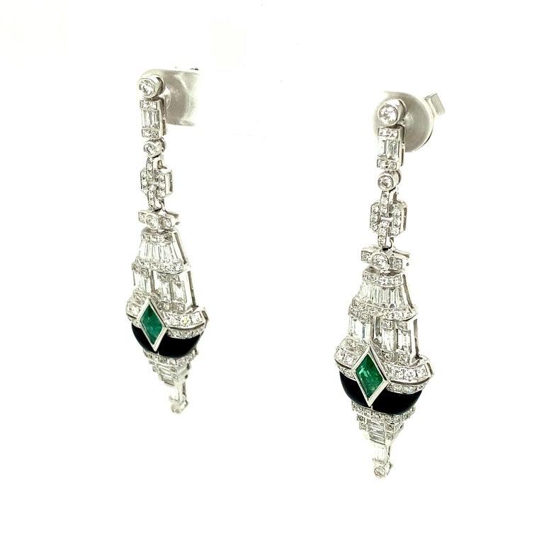 Art Deco Style Emerald, Black Onyx, and White Diamond Gold Dangle Earrings 2