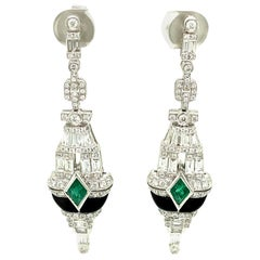 Art Deco Style Emerald, Black Onyx, and White Diamond Gold Dangle Earrings