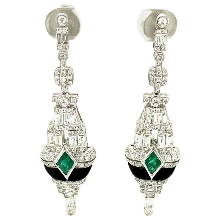 Art Deco Style Emerald, Black Onyx, and White Diamond Gold Dangle Earrings