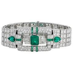 Art Deco Emerald Bracelet, 16.90 Carat