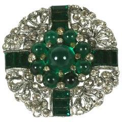 Art Deco Emerald Cab Brooch