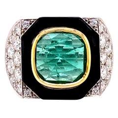 Art Deco Emerald Coomi 18 Karat White Gold Cocktail Ring