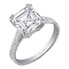 Neil Lane Couture Art Deco Emerald-Cut Diamond, Platinum Ring