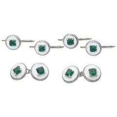 Art Deco Emerald, Diamond and Enamel Dress-Set