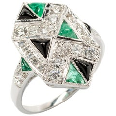 Art Deco Style Emerald Diamond and Onyx 18 Carat White Gold Ring