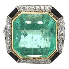 Art Deco Emerald, Diamond and Onyx Ring