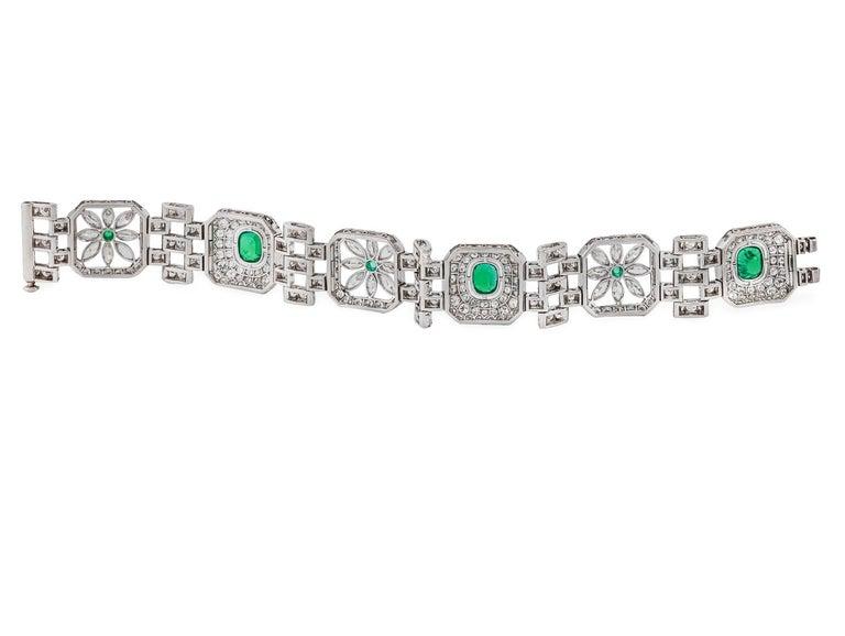 Diamonds (17.00 ctw. G-I/VS1-VS2) 6 Emeralds (6.00 ctw.) 7″ Circa 1930's Platinum 54.7 grams Diamond & Gemstone weights are approximate