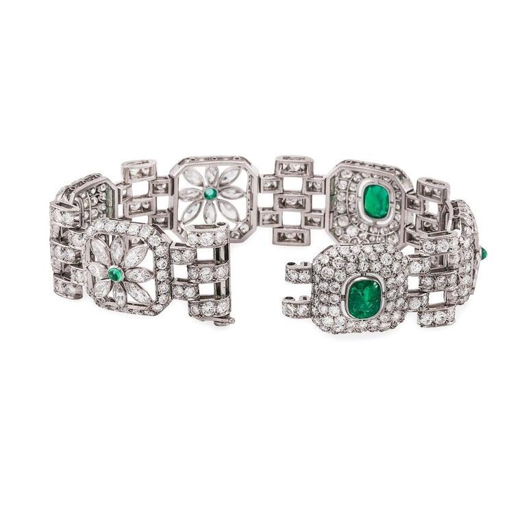 Art Deco Emerald Diamond Bracelet In Good Condition For Sale In Dallas, TX