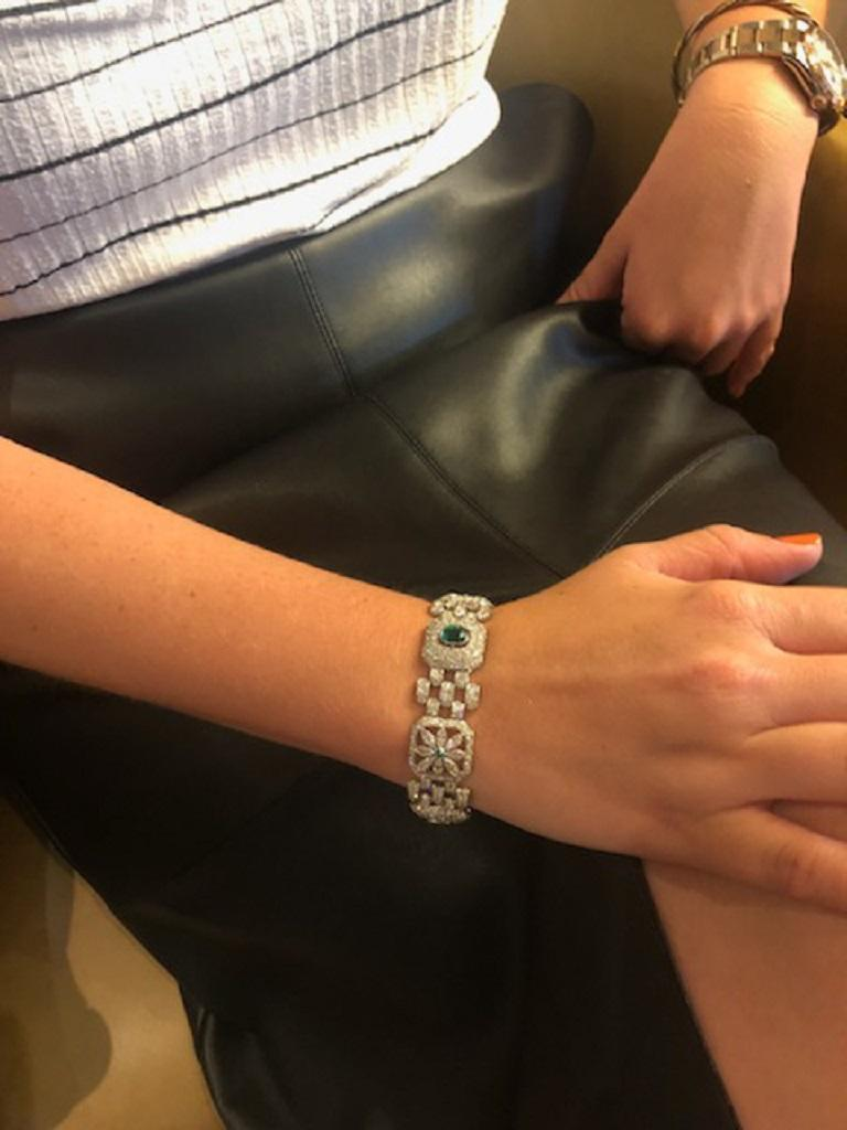 Women's Art Deco Emerald Diamond Bracelet For Sale
