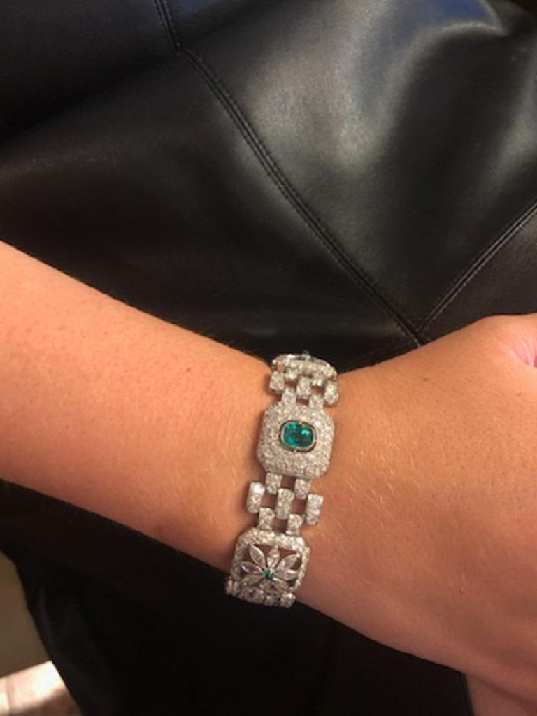 Art Deco Emerald Diamond Bracelet For Sale 1