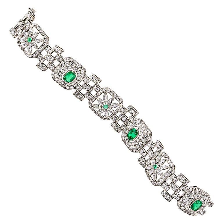 Art Deco Emerald Diamond Bracelet For Sale