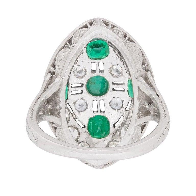 Women's or Men's Art Deco Emerald Diamond Dinner Ring, circa 1920s For Sale