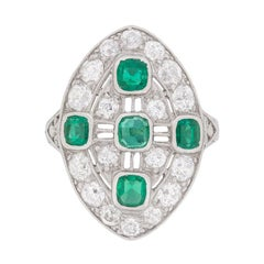 Art Deco Emerald Diamond Dinner Ring, circa 1920s