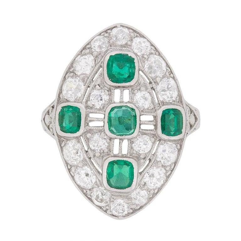 Art Deco Emerald Diamond Dinner Ring, circa 1920s For Sale