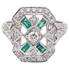 Art Deco Style Emerald Diamond Engagement Ring
