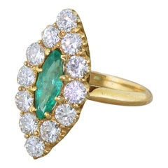 Art Deco Emerald and Diamond Navette Cluster Ring