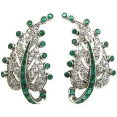 Art Deco Emerald Diamond Platinum Leaf Earrings