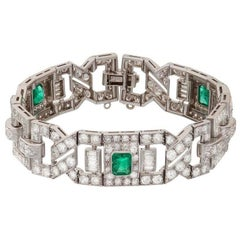 Art Deco Emerald Diamond Platinum Link Bracelet