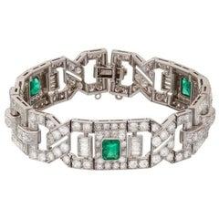 Art Deco Emerald Diamond Platinum Link Bracelet