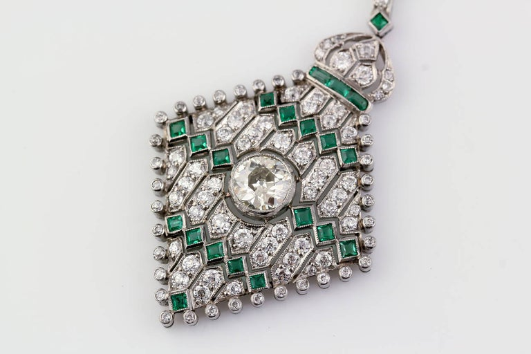 Women's Art Deco Emerald Diamond Platinum Necklace For Sale